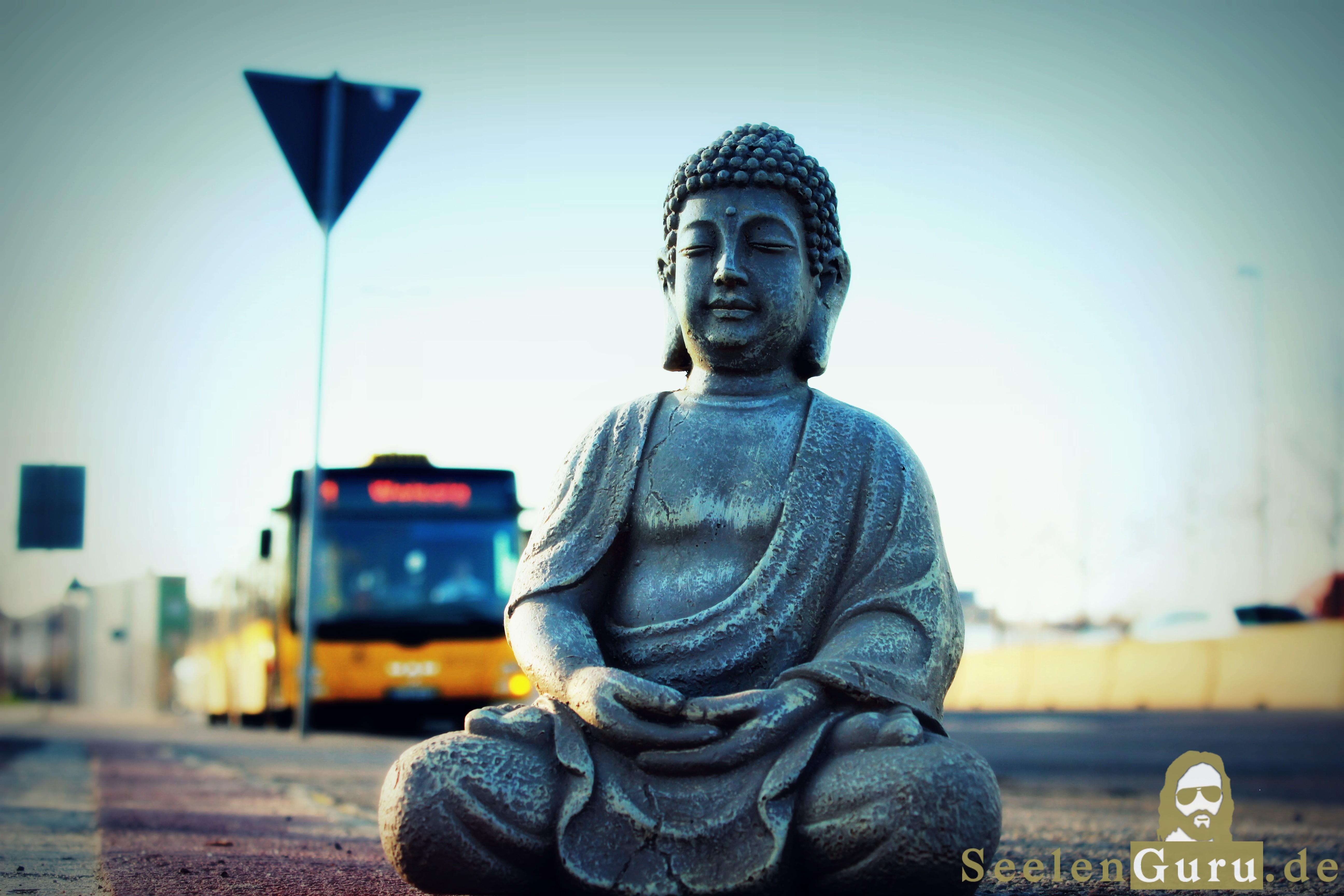Buddha meditiert vor Bus auf Nossener Brücke Dresden