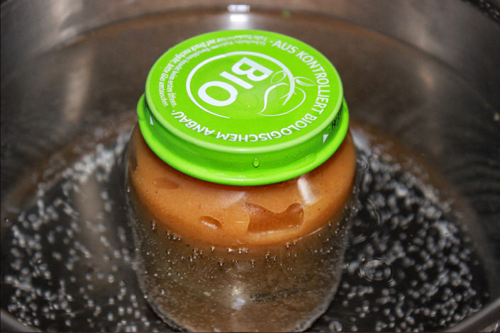 Kaki-Apfelmus eingekocht, vegan, glutenfrei und zuckerfrei