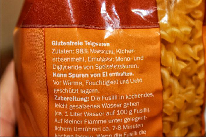 Zutaten Maisnudeln aus Lidl - Glutenfrei und Vegan