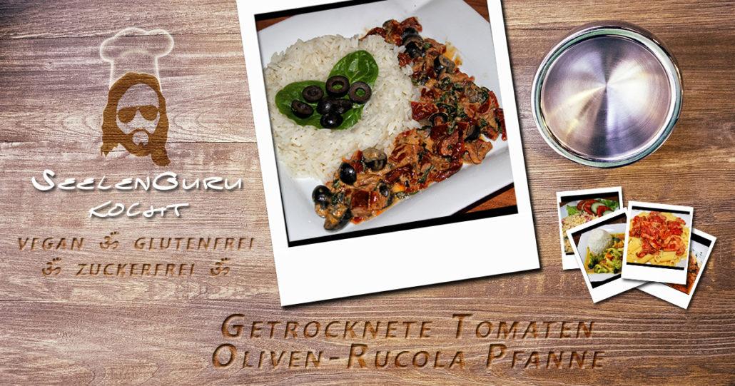 Getrocknete Tomaten Oliven Rucola Pfanne mit Kokosmilch