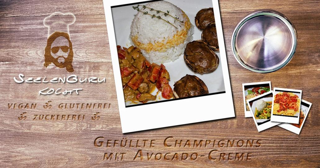 Gefuellte Champignons mit Avocado-Creme - vegan & glutenfrei
