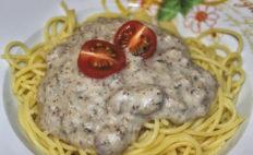 Vegane Spaghetti Carbonara mit Cashew-Käsesauce und Rauchmandeln - glutenfrei & zuckerfrei