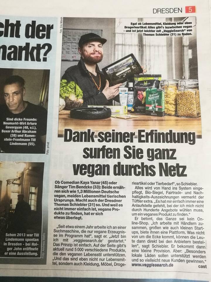VeggieSearch in Dresdner Morgenpost
